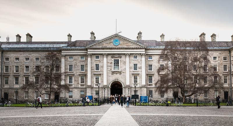 People walking in the courtyard of Trinity College in Dublin, Ireland stock photography