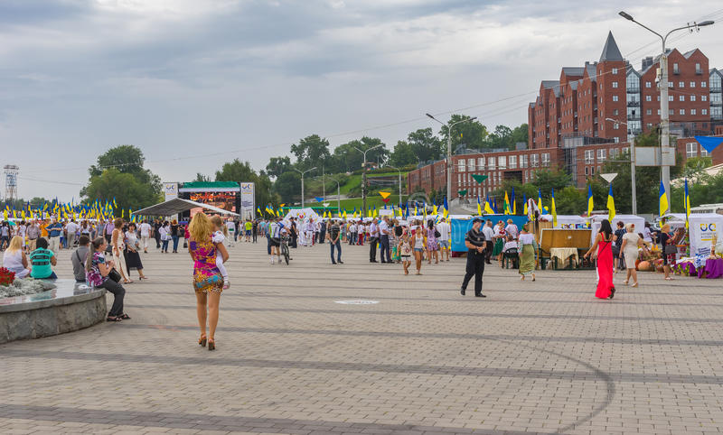 People walking on the Dnepr river embankment during Independence Day celebrations royalty free stock photos