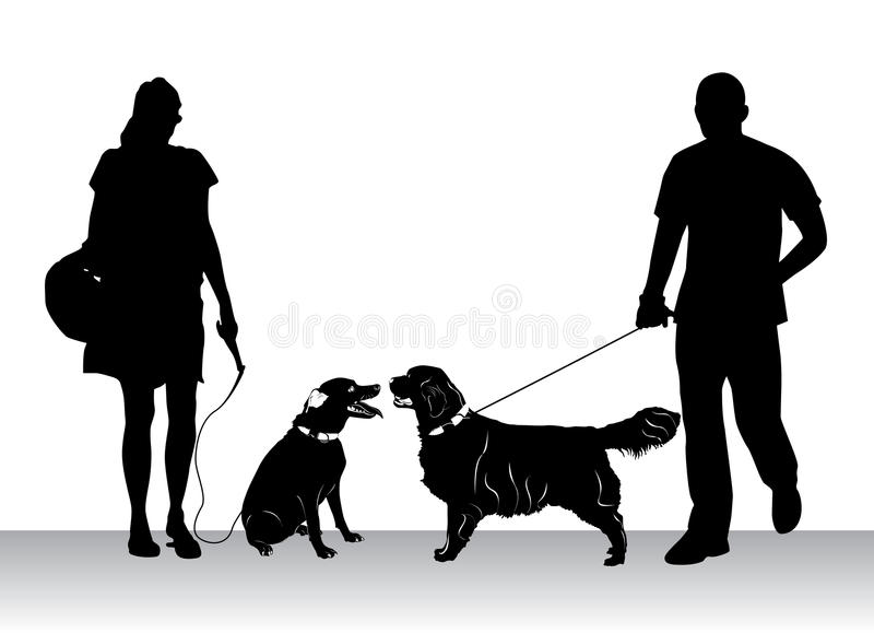 Download People walking dogs stock vector. Image of female, isolated - 15421196