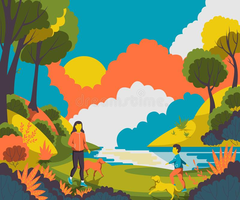 People walking with dogs in the park near pond. stock illustration