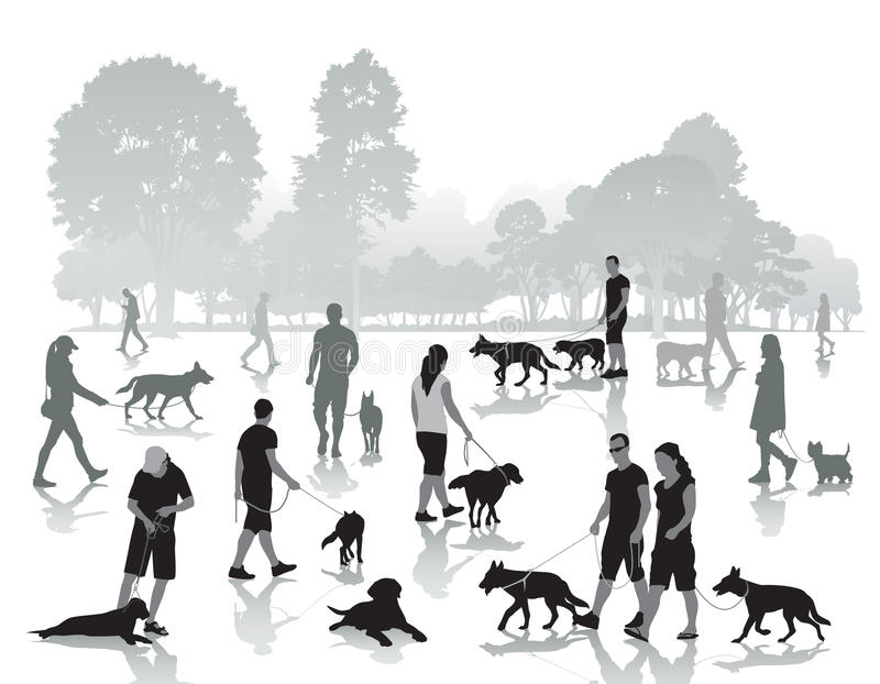 People walking with dogs royalty free illustration