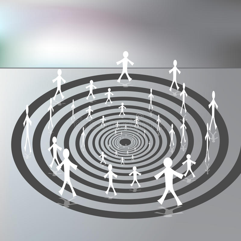 People Walking on a Downward Spiral Path vector illustration