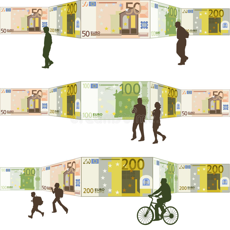 Download People Walking Front Of A Background Bills Stock Vector - Image: 29325171