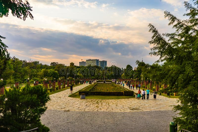 People walking and having fun in King Mihai I park Herastrau park in Bucharest, Romania, 2019 stock photo