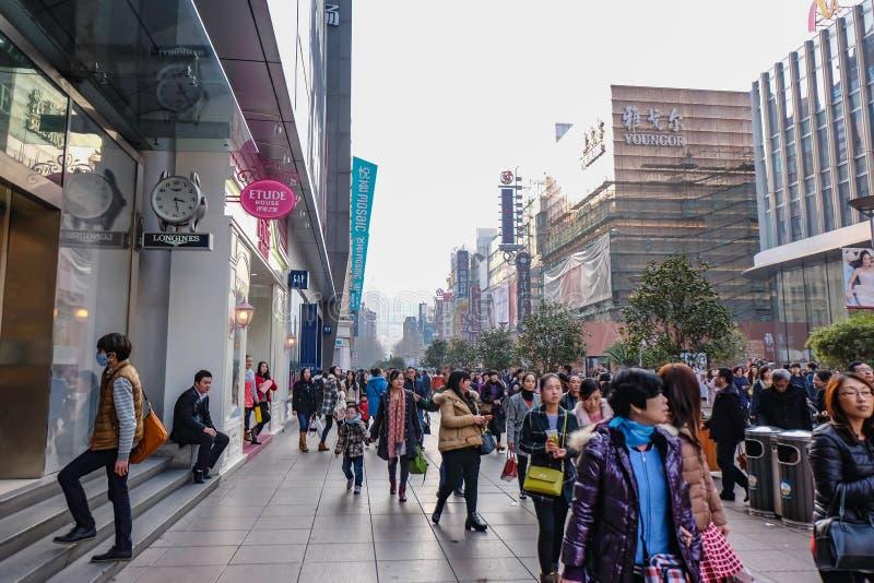 People walking in Nanjing Road Walking street in shang hai city china royalty free stock photography