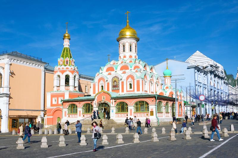 People walking near Kazansky cathedral on Red square. Moscow, Russia - October 17, 2018: People walking near Kazansky cathedral on Red square stock photography