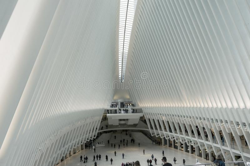 People walking in The Oculus transportation hub at World Trade Center Subway Station royalty free stock images