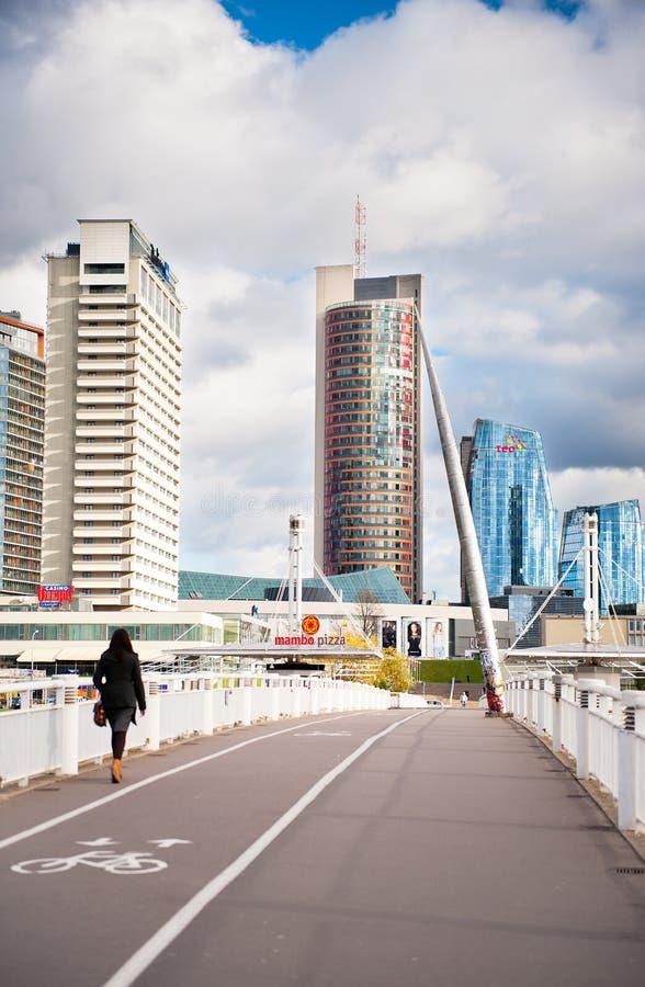 Free People Walking On The White Bridge In Vilnius, Lithuania Stock Photos - 37486643