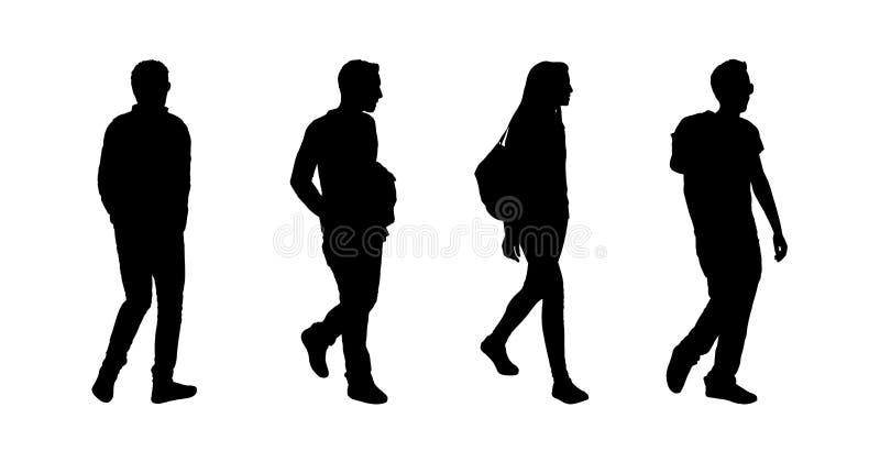 People walking outdoor silhouettes set 7 stock illustration