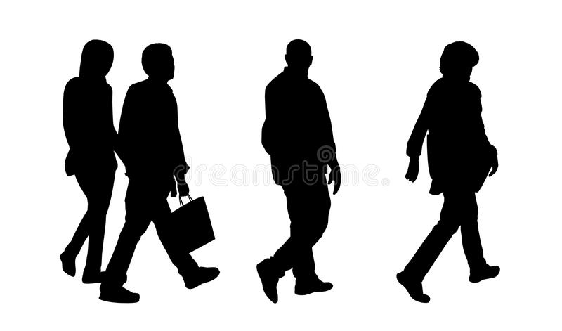 People walking outdoor silhouettes set 1 royalty free illustration