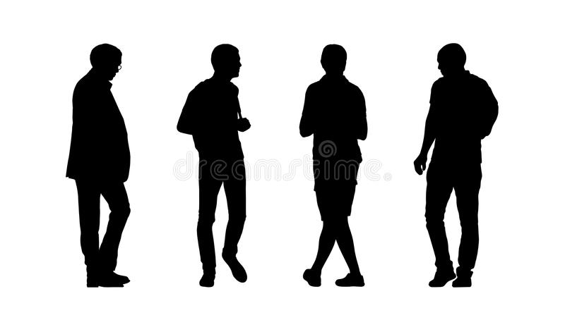 People walking outdoor silhouettes set 28 royalty free illustration