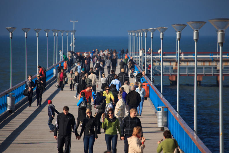 People walking on the Palanga pie royalty free stock photography