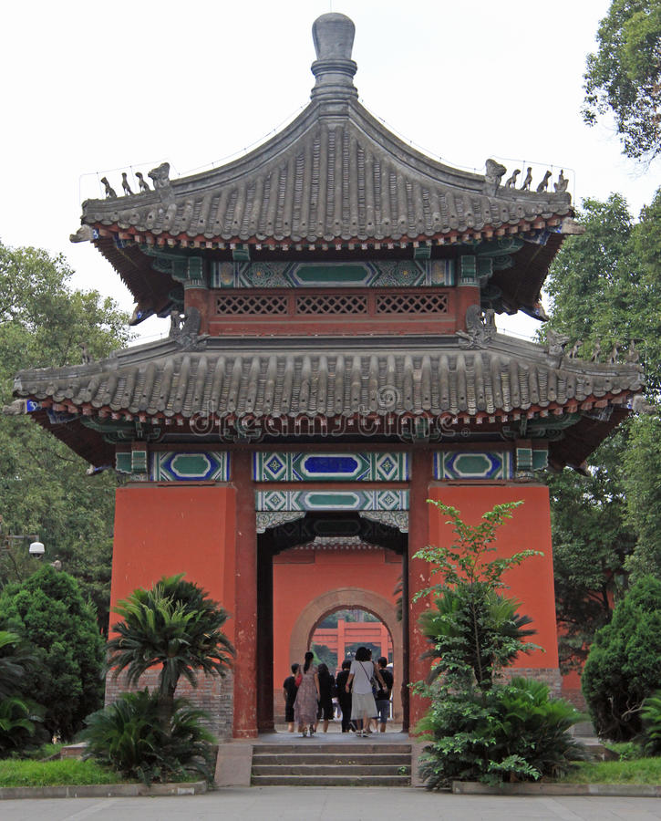 People are walking by park in Chengdu, China. Chengdu, China - June 14, 2015: people are walking by park in Chengdu, China stock photography