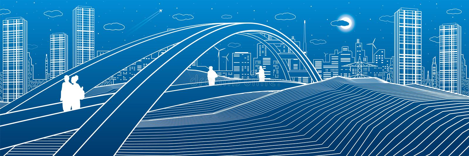 People walking at pedestrian bridge. City skyline. Modern night town. Infrastructure illustration, urban scene. White lines on blu. E background. Vector design vector illustration