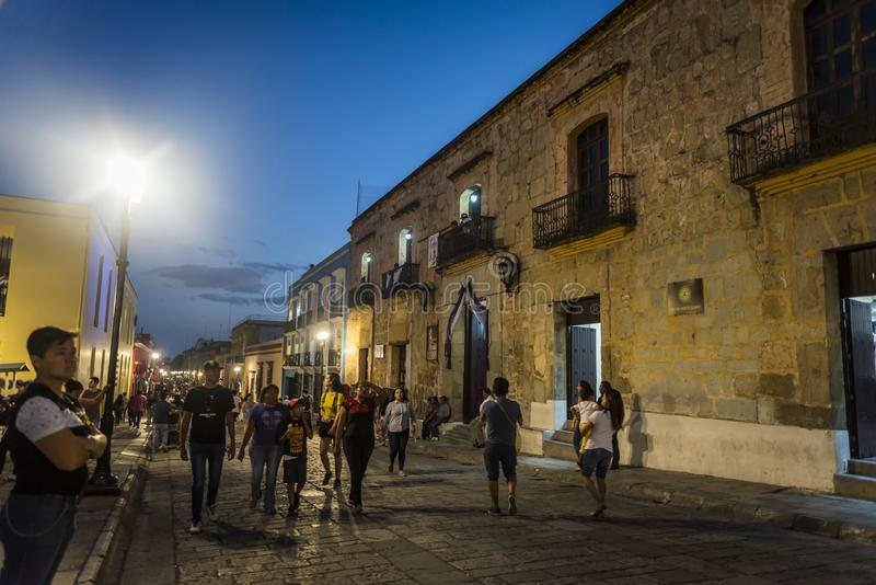 Historical city centre at night, Oaxaca, Mexico royalty free stock images