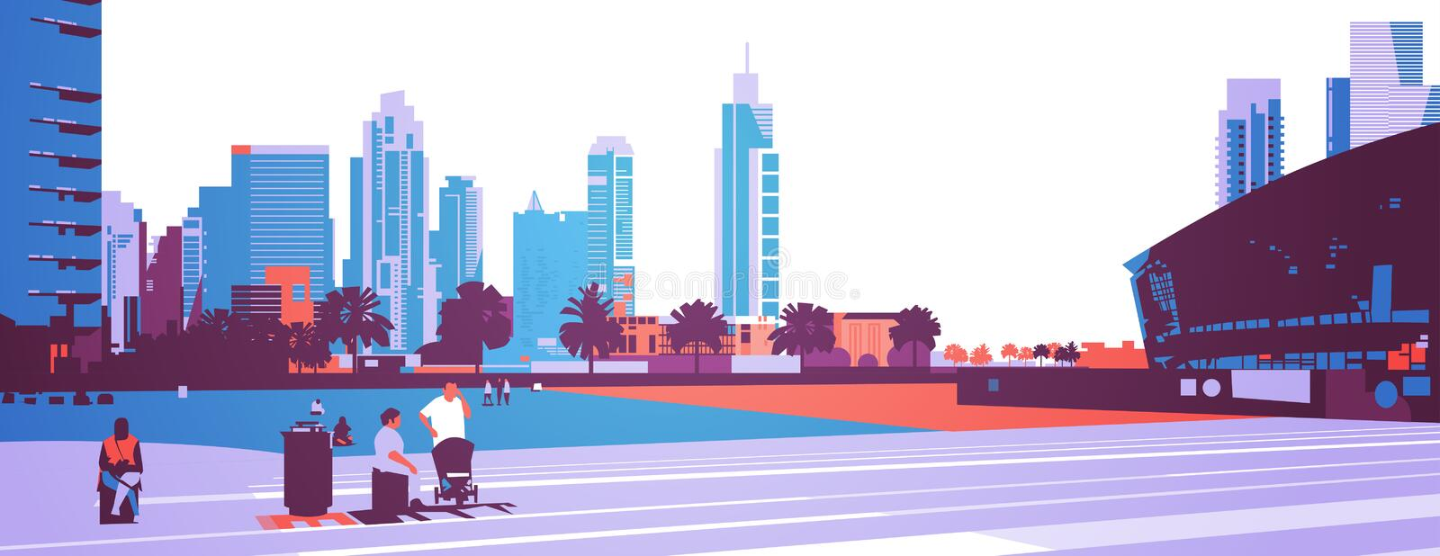 People walking relax concept over skyscraper buildings modern cityscape background flat horizontal banner. Vector illustration stock illustration