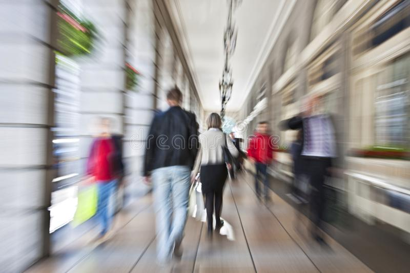 People walking, rush hour in the city, shopping t. Large group of people walking, rush hour in the city, shopping together royalty free stock photos