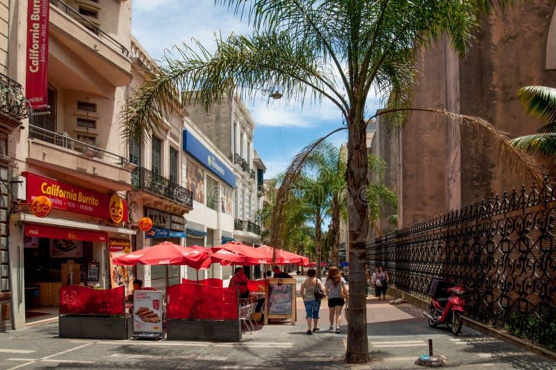 People walking on Sarandi pedestrian street, in the Ciudad Vieja area, Montevideo royalty free stock photos
