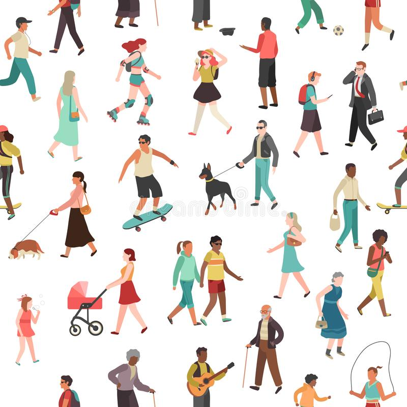 People walking seamless pattern. Women men children group person walk city crowd family park outdoor activity stock illustration