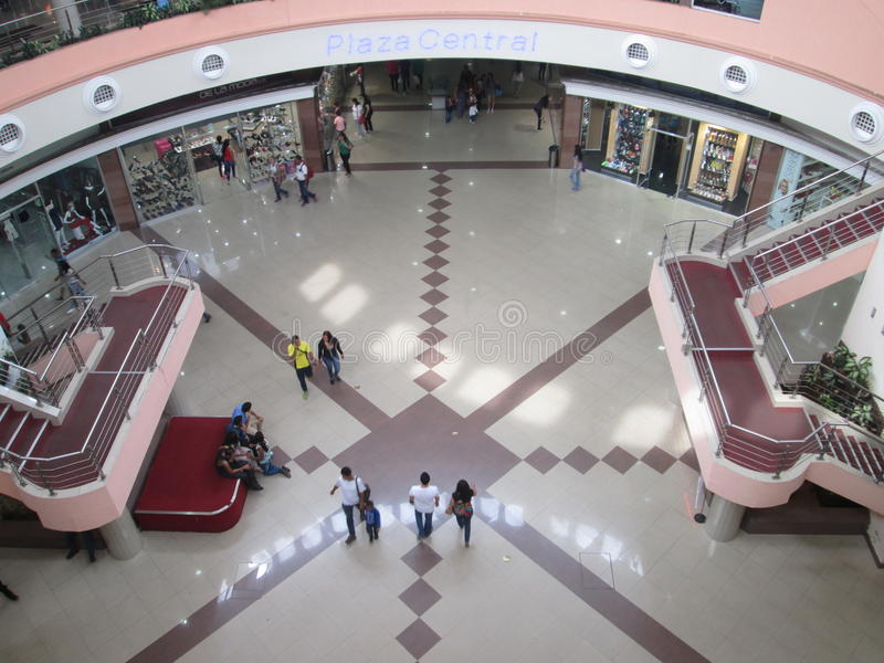 People walking in a shopping center of Puerto Ordaz city. Venezuela. April 22, 2017. Aerial view of several people walking in a shopping center in Puerto Ordaz stock image