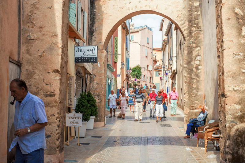 People walking in street, Architecture of Saint Tropez city in French Riviera, France stock image