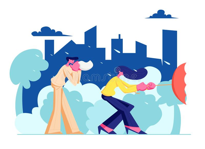 People Walking Street in Bad Weather with Rain on Cityscape Background, Man Blow his Nose into Handkerchief Woman Holding Umbrella. People Walking Street in Bad vector illustration