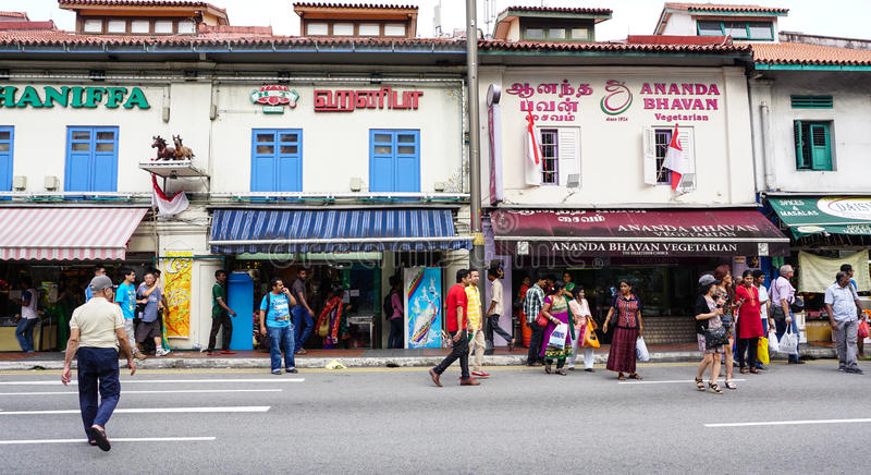 People walking on the street in Chinatown, Singapore stock images