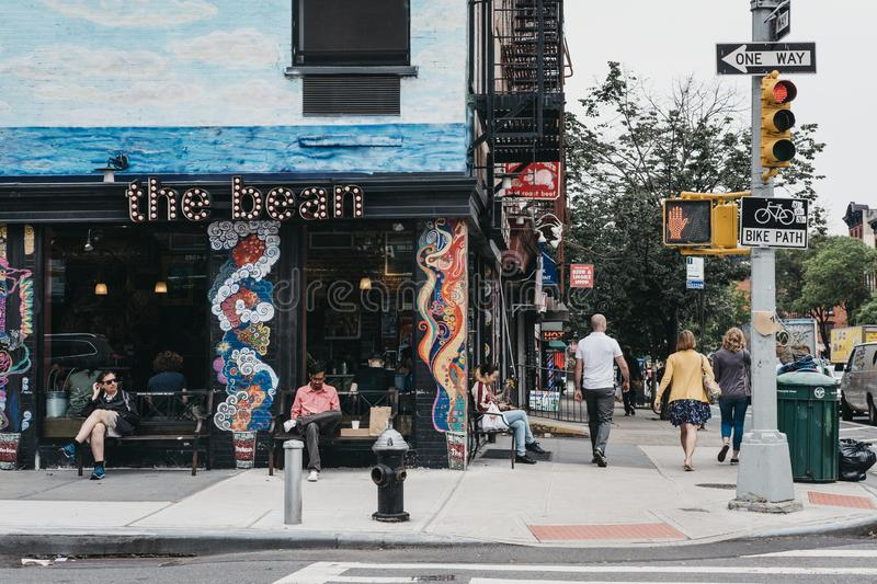 People walking on a street in Lower East Side, New York, USA. royalty free stock photos