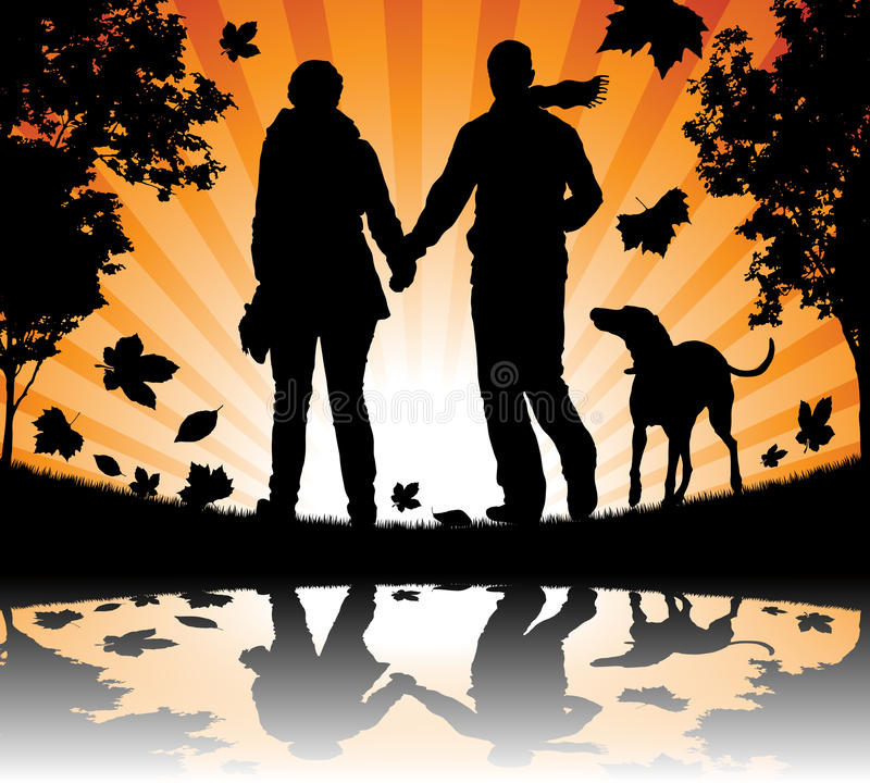 Download People Walking Their Dog In The Autumn Leaves Stock Vector - Image: 27465718