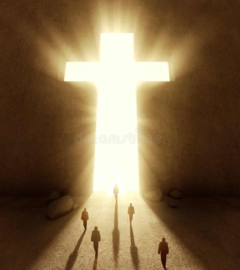 People walking towards a huge cross passage. People walking towards a huge bright cross passage stock photo