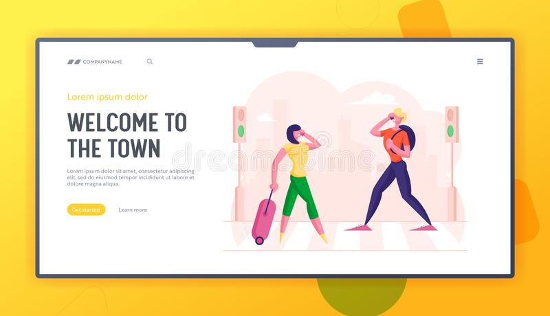 People Walking at Town Street along Road Crosswalk Website Landing Page. Woman with Suitcase and Man with Backpack. Talking by Mobiles Busy. Urban Life Web Page vector illustration