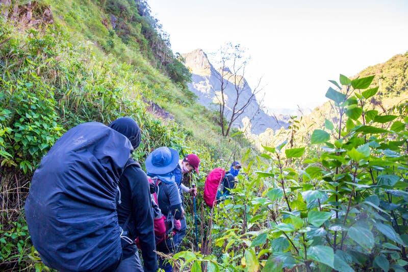 People walking or trekking at Doi Luang Chiang Dao, Chaingmai, Thailand. ChiangDao, Chaingmai, Thailand. - December 25, 2018 : People walking or trekking at Doi stock images