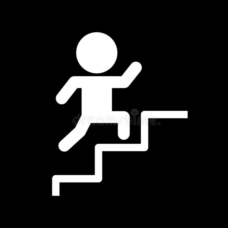People walking up stairs for web icons and symbols on a black background. And flat vector illustration