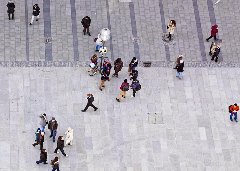 Download People Walking Urban View From Above Editorial Image