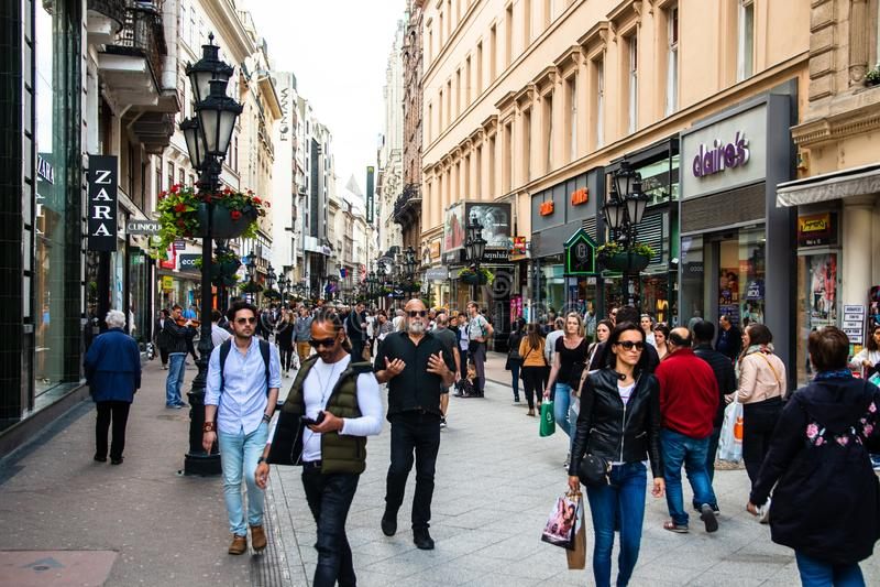 People walking on Vaci utca street royalty free stock photography