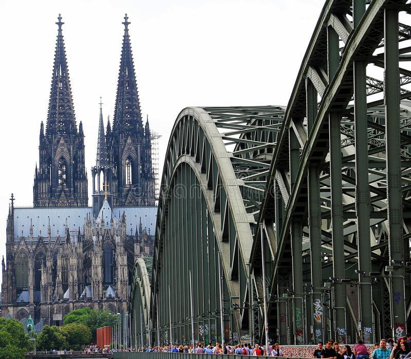 People Walling On Cologne Bridge Near Cologne Cathedral During Daytime Free Public Domain Cc0 Image