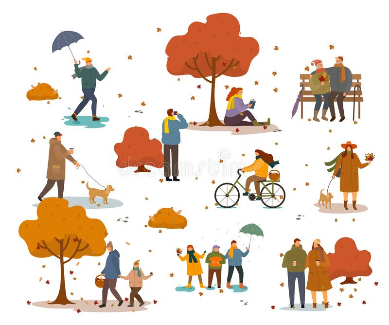 People Walking or Sitting in Autumn Golden Park. People in warm clothes having fun outdoors walking in autumn park. Girl riding bike and grandparents sitting on stock illustration