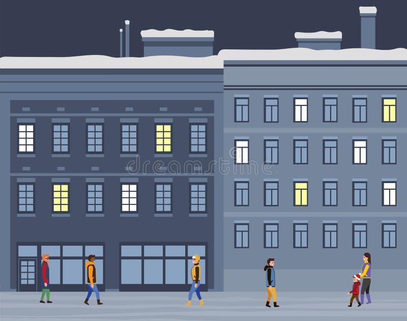 People, Building Outdoors, Christmas Season Vector stock illustration