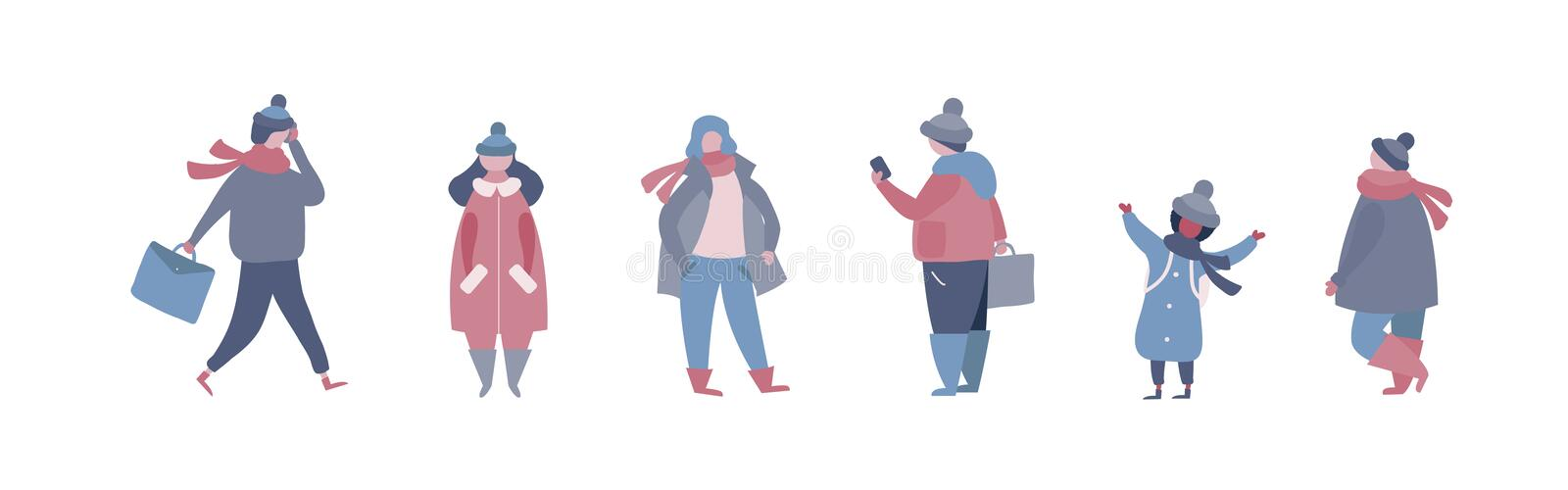 People in warm winter clothes walking on street, going to work, talking on phone. Women men children in outerwear performing outdoor activities. Vector royalty free illustration