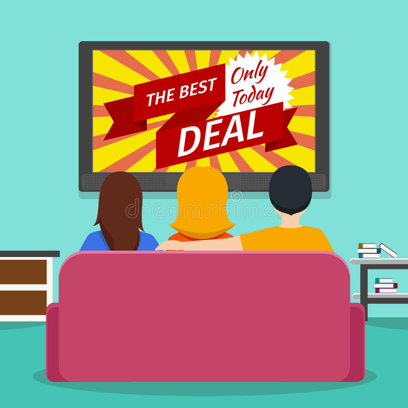 People watching advertising on television. Vector stock illustration