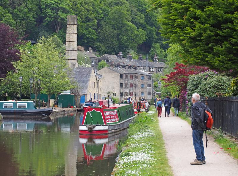 People watching the arrival of narrow boats club gathering held on the may bank holiday on the rochdale canal at hebden bridge in. Hebden bridge, west yorkshire royalty free stock images