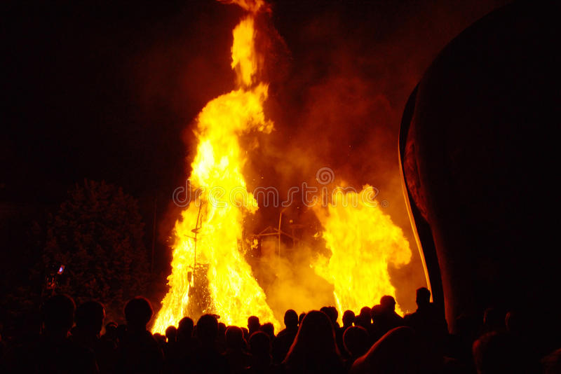 People Watching Big Fire royalty free stock photo