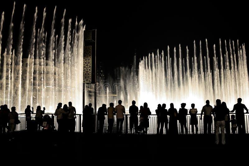 Download People Watching Dubai Fountain At Night Editorial Image