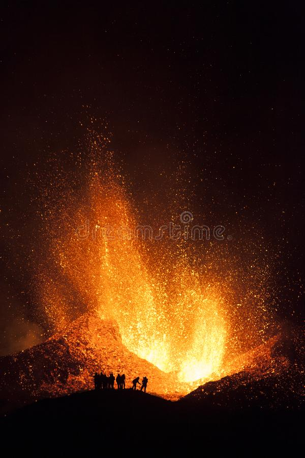 Free People Watching Explosive Eruptions Are Characterized By Gas-driven Explosions That Propels Magma And Tephra. Royalty Free Stock Photos - 167075378