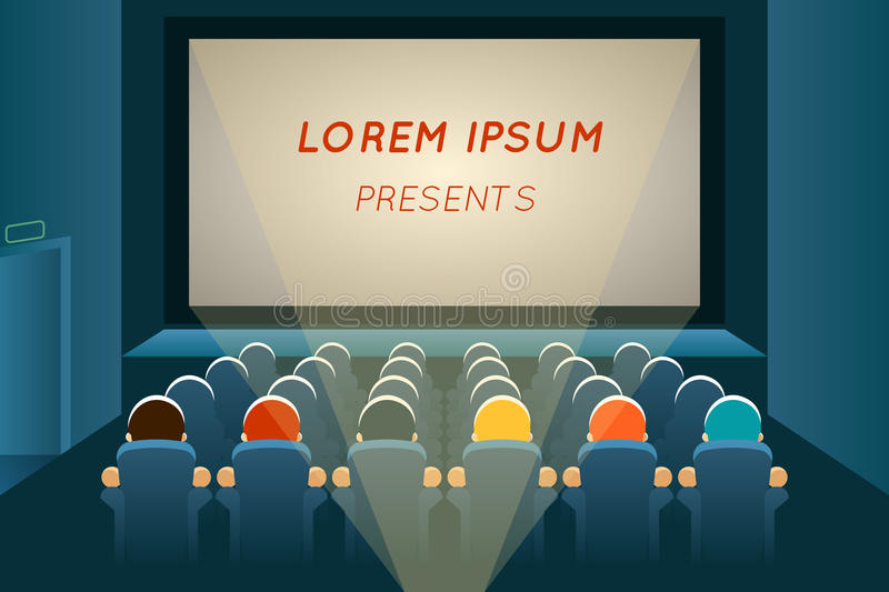 People watching film in cinema vector illustration
