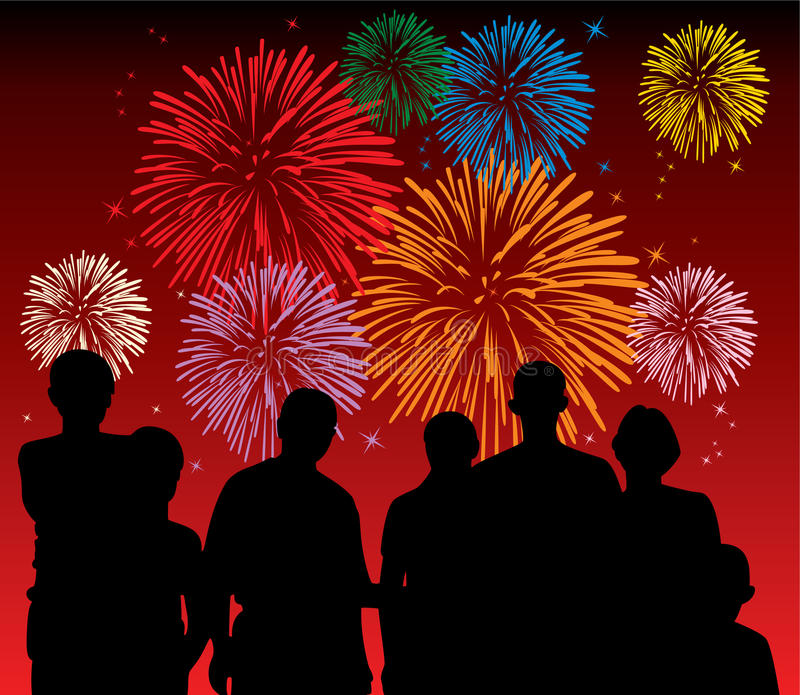 Download People watching fireworks stock vector. Image of blue - 16970000