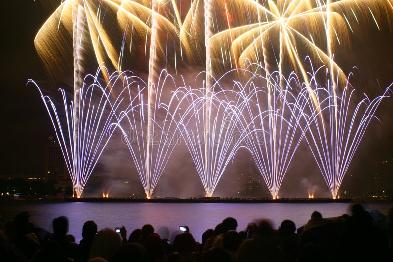 Download People Watching Fireworks Stock Photos - Image: 7637903