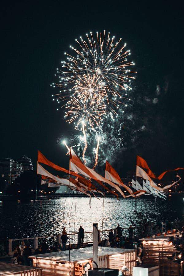 People Watching Fireworks During Night stock image