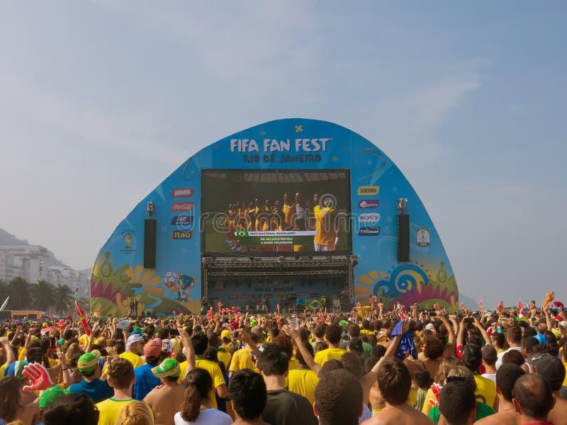 People Watching The Game At Fifa Fan Fest In Copacabana Beach Rio De Janeiro Editorial Stock