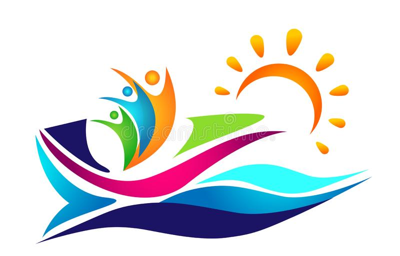 People water sea wave sun ship boat sailing winning team work together union logo icon vector element on white background royalty free illustration